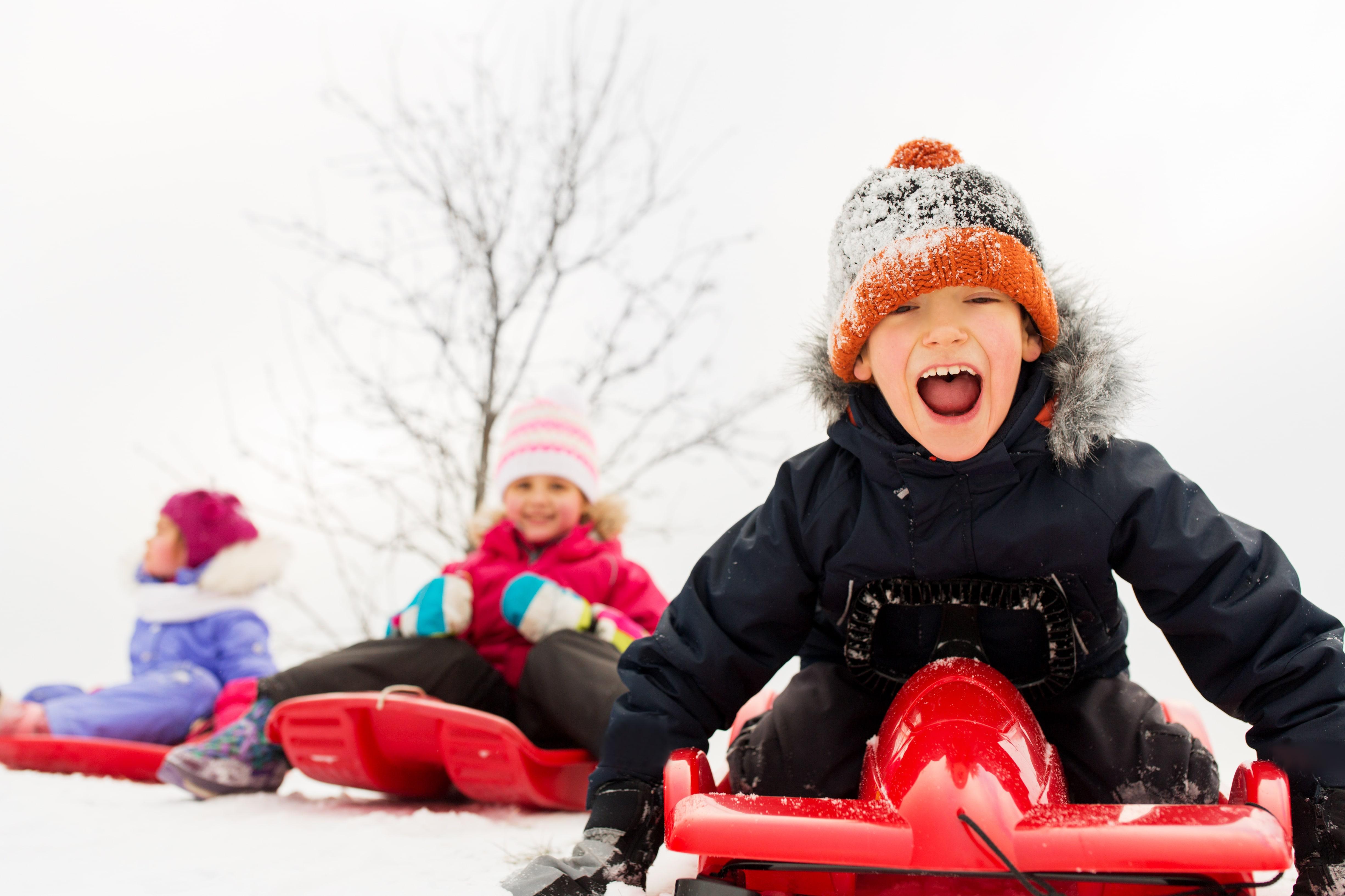 Sledding, Winter, Children, Snow