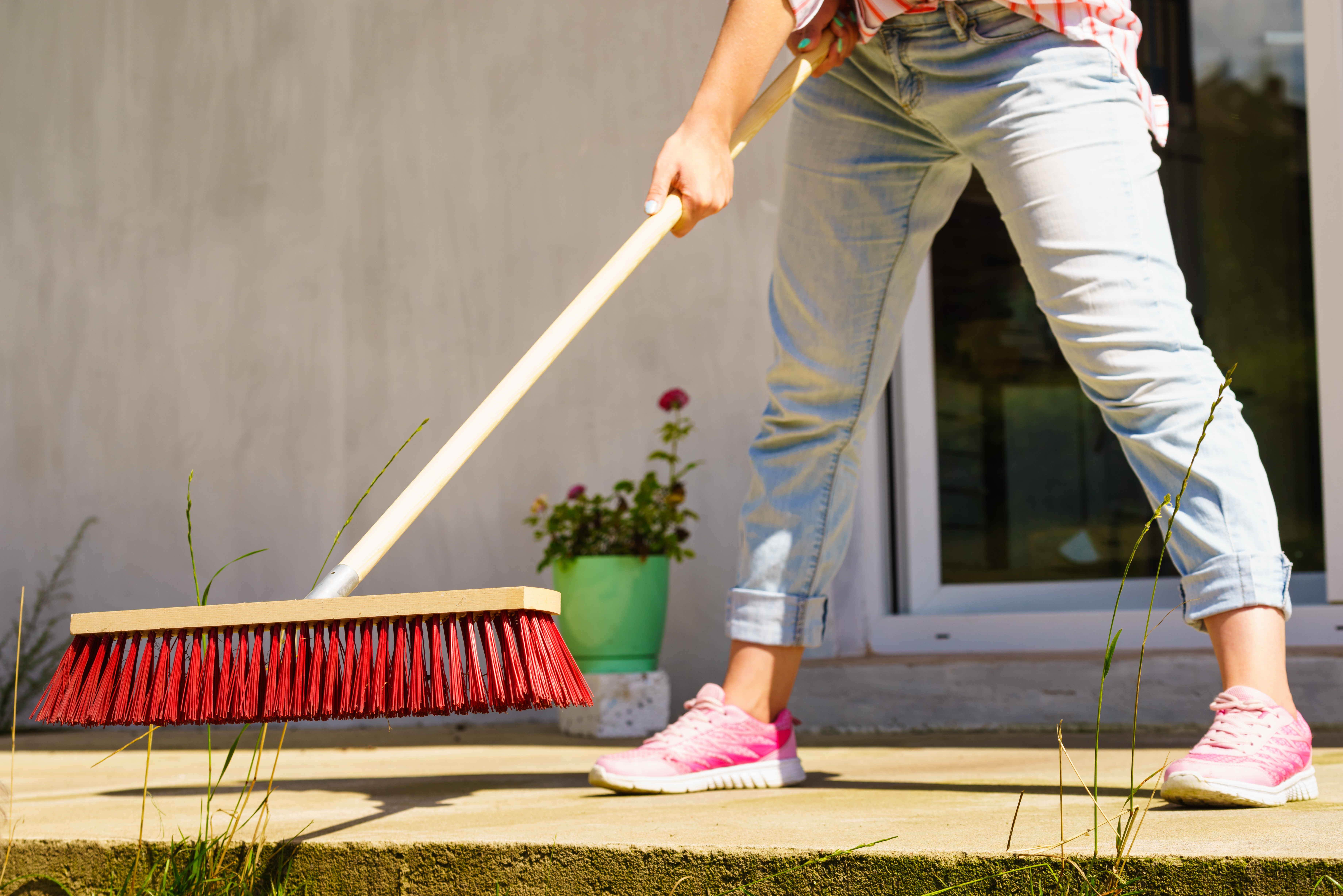 Patio Cleaning, Summer, Spring Cleaning, Broom, Sweeping
