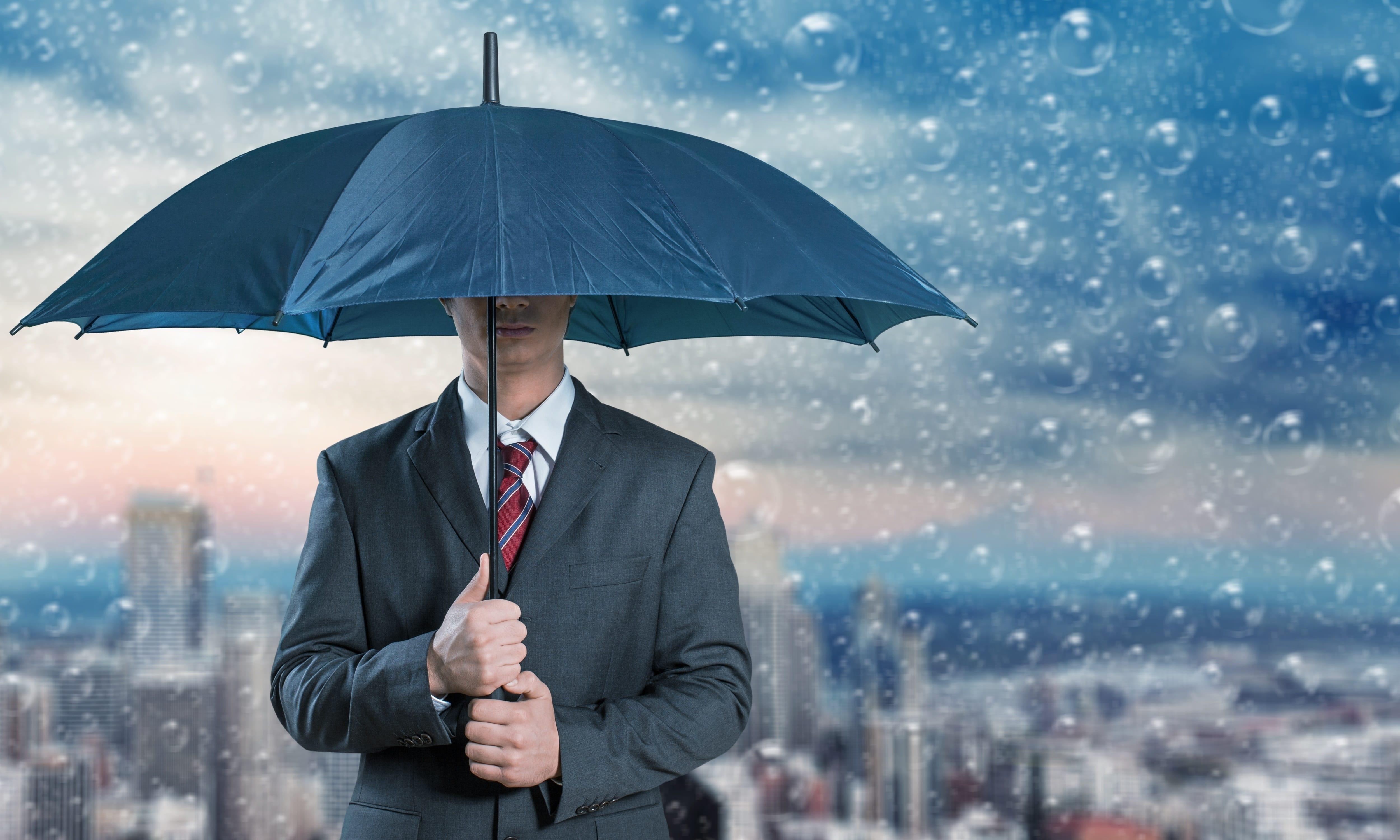 Rainy day, umbrella, suit
