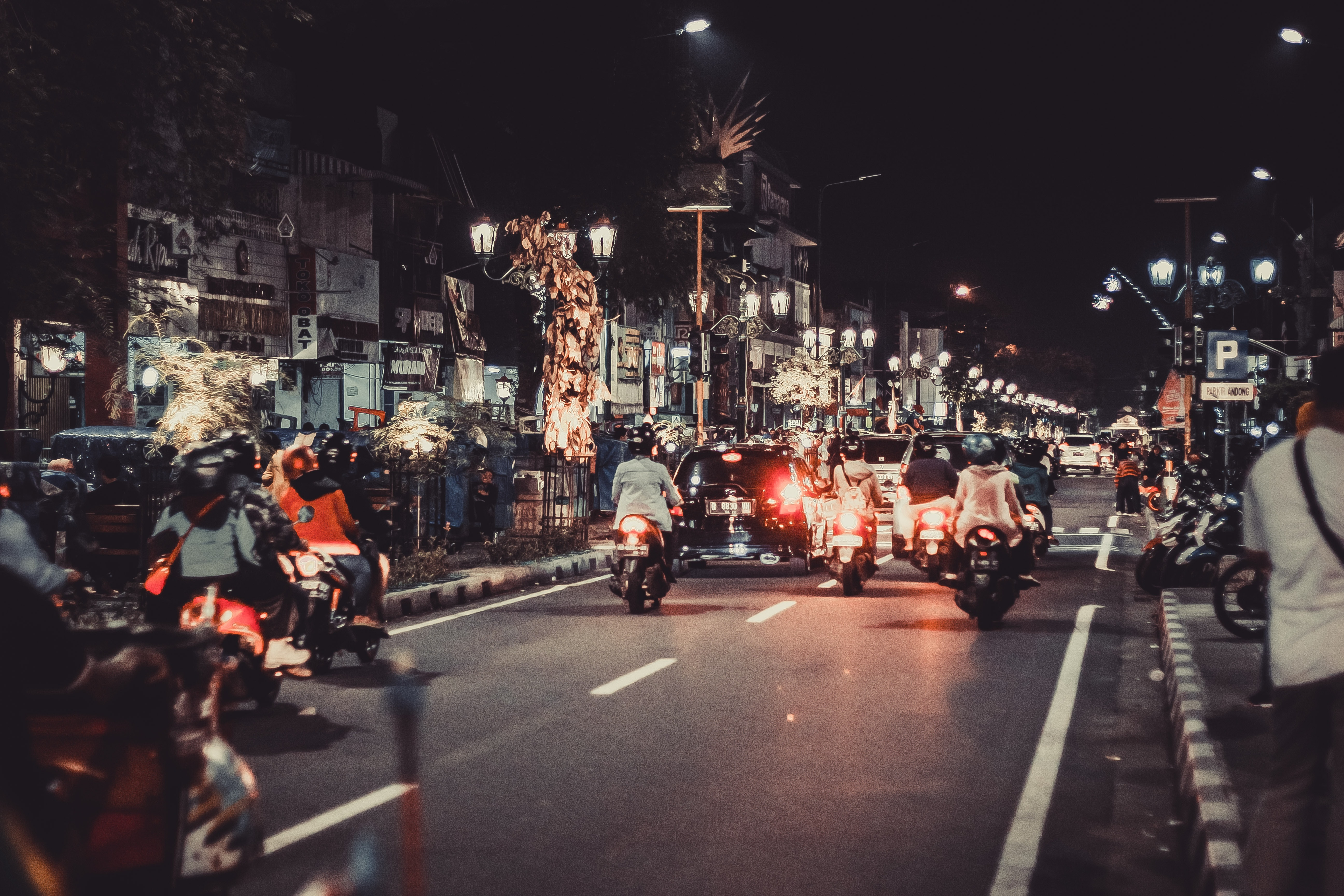 Motocycles, Driving, Buildings, Night Driving