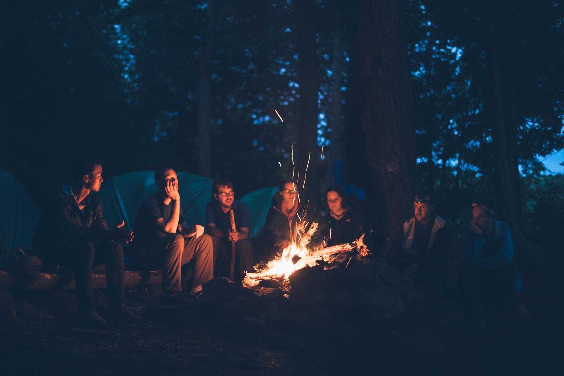 Bonfire, Camping, Fire