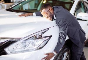 Hugging a Car, White Vehicle, Headlight