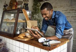 Bakery, Ipad, owner, bread, business