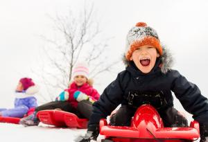 Sledding, Winter, Children, Snow