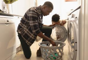 Laundry, Dryer, Father, Son, Fire Prevention