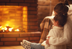 Fireplace, Fire, Cozy, Mother, Child