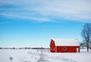 Winter Farming, Snow, Winter, Farm, Barn