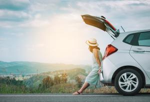 Road Trip, Woman, Car Trunk